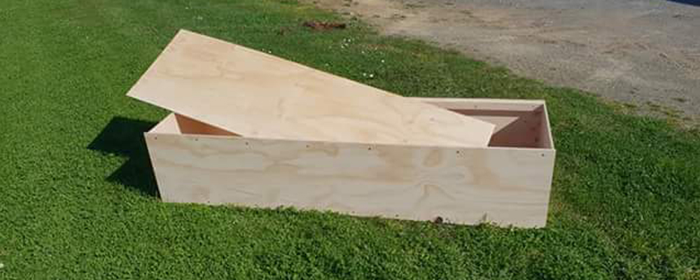 Plain wooden coffin for cremation